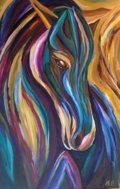 painting abstract modern horse art equine colorful bright