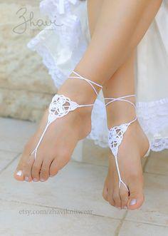 WHAT A CUTE IDEA!!!... Check out the additonal designs....SALEBridal Foot jewelry Rhinestone Beach wedding by ZHAVIknitwear, $13.00