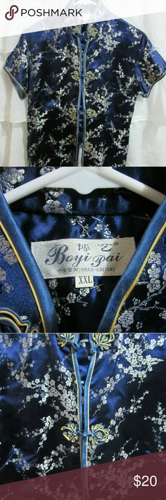 Womens Boyi Pai Traditional Chinese Shirt XXL Excellent Used Condition, Beautiful womens Traditional Chinese Top Jacket.  Maker is Boyi Pai.  Beautiful Royal Blues with embroidered  blossoms.  Lovely details.  Size XXL.  Ready to eear.  Nonbsmoking home.  Happy Shopping.  Blessings! Boyi Pai Chinese Tops Blouses