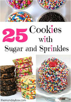 25 Cookies with Sugar and Sprinkles: A little bit of extra sparkle or color transforms baked goods from everyday to extra special! These sprinkley cookie recipes will convince you to embellish your next batch of cookies with sugar and sprinkles! | themondaybox.com