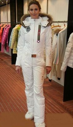 https://flic.kr/p/UM9KYF | Women's White Belted 1-Piece w. Gold Finish Belt Buckle BÖGNER Ski Suit. c. 2013-2014.