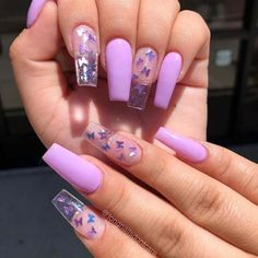 Purple Acrylic Nails, Clear Acrylic Nails, Pink Glitter Nails, Acrylic Nails Coffin Short, Summer Acrylic Nails, Purple Nails, Summer Nails, Coffin Nails, Clear Nails