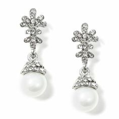 #Wholesalejewelry #Charlestone #jewelry 41049A496 | Rhodium Crystal Rhinestone Flower Shape Top with White Pearl Dangle Earrings