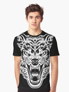 'Wolf Face' Graphic T-Shirt by EddieBalevo Wolf Face, Face Sketch, Laptop Cases, Phone Cases, Throw Blankets, Throw Pillows, Pet Clothes, My T Shirt, Floor Pillows