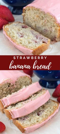 Easy Strawberry Banana Bread - a banana bread made from pancake mix and filled with tons of strawberries and a strawberry glaze on top. Perfect for brunch! # Strawberry Banana Bread - Crazy For Crust Strawberry Banana Bread, Strawberry Recipes, Strawberry Glaze, A Banana, Just Desserts, Dessert Recipes, Desserts With Strawberries, Cheesecake Strawberries, Dessert Bread