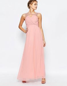 81bd5dc8c9f7 Little Mistress Sweetheart Maxi dress with Pleated Bust at asos.com