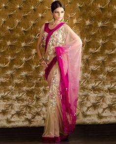 Nude and Fuchsia Sari with Velvet Border and Beaded Blouse by Kisneel By Pam Mehta Bridal Sari, Indian Bridal, Wedding Sari, Pakistani Bridal, Indian Attire, Indian Ethnic Wear, Ethnic Style, Indian Style, Indian Dresses
