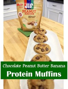 Recipe: Chocolate Peanut Butter Banana Protein Muffins, perfect for a grab and go breakfast, and freeze well! Insanely delish and packed with protein! - The Style Files #StartWithJifPowder #ad