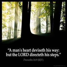 Proverbs 16:9  A mans heart deviseth his way: but the LORD directeth his steps…