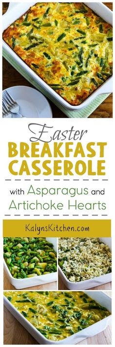 This Easter Breakfast Casserole with Asparagus and Artichoke Hearts is perfect for a brunch that's healthy but uses special ingredients. And this delicious breakfast is low-carb, Keto, low-glycemic, gluten-free, and South Beach Diet friendly. [found on KalynsKitchen.com]