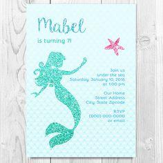 Printable Sparkly Mermaid Birthday Party Invitation 4x6 or 5x7