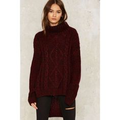 Foggy Notion Chunky Sweater ($68) ❤ liked on Polyvore featuring tops, sweaters, red, over sized sweaters, oversized turtleneck sweater, red turtleneck, turtle neck top and chunky turtleneck sweater