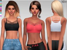 -a unique athletic crop top with thin bandage string design front for your sims…