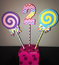 Sweet Shoppe or Candyland Centerpiece Picks by YourPartyShoppe