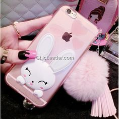 Cute Tassel Faux Rabbit Fur Ball Bunny Silicone Case for iPhone 6 / 6S 4.7inch - Pink