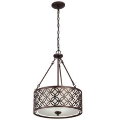 Shop allen + roth Earling 18-in W Oil-Rubbed Bronze Pendant Light with Fabric Shade at Lowes.com