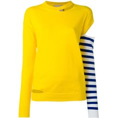 Erika Cavallini contrast sleeve top ($251) ❤ liked on Polyvore featuring tops and yellow top