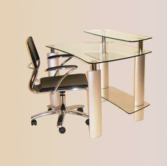 Chintaly Imports Computer Desk with Clear Glass Top and Swivel Arm Chair Set