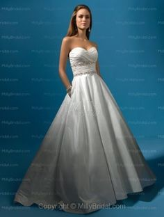 A-line Sweetheart Sequins Taffeta Sweep Train Wedding Dress at Millybridal.com