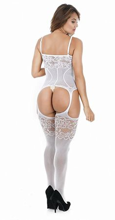 Amazon.com: 2-Pack Womens fishnet Sexy Lingerie Striped Open Crotch Bodysuits Suspenders bodystockings(Black/White): Clothing