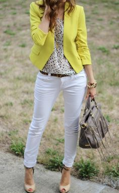Bright blazer, polka dot blouse, white skinnies, leopard belt.