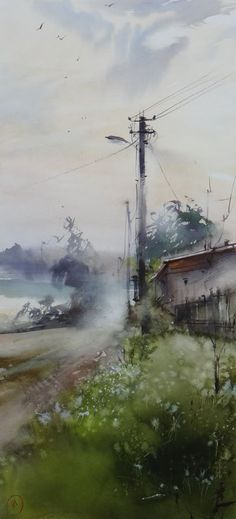 Ilya Ibryaev   - Village Street - watercolor (53х25) cm