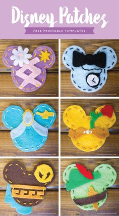 Diy disney patches – designs by miss mandee. make your own adorable disney patches to accessorize the next time you go to disneyland. Disney Ears, Disney Fun, Disney Art Diy, Disney Cruise, Diy Craft Projects, Craft Ideas, Deco Noel Disney, Cadeau Disney, Felt Crafts