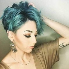 Turquoise Pixie Cut Long Bangs