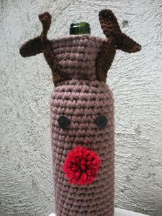PDF Pattern Crochet Rudolph Reindeer Wine Bag Holiday by LanadeAna