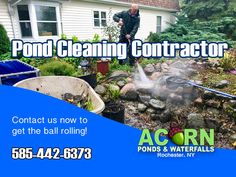 Read details about fish pond & water feature cleaning, maintenance & repair services in the Rochester (NY) area by Acorn Ponds & Waterfalls Cleaning Contractors, Pond Algae, Pond Cleaning, Pond Maintenance, Rochester New York, Pond Filters, Pond Water Features, Waterfall Fountain, Finger Lakes