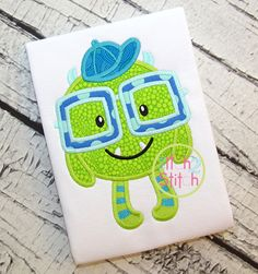 Monster Boy Applique  https://www.allstitchedupbyangela.com/shop/product/pop-basic-lime-by-timeless-treasures/ https://www.allstitchedupbyangela.com/shop/product/ta-dot-breeze-michael-miller/