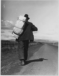 Migrant worker on California highway during the Great Depression. - Picture from FDR Library, courtesy of the National Archives and Records Administration.