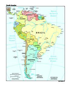 Mapa Político de América del Sur 1997 - mapa.owje.com South Pacific, Bolivia, Ecuador, South America, Peru, Chile, Brazil, Ocean, Maps