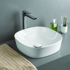 meuble salle de bain bambou avec poignée en acier brossé et vasque ...