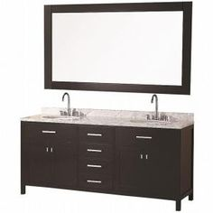 Design Element London 72 in. Vanity in Espresso with Marble Vanity Top and Mirror in Carrera White-DEC076B at The Home Depot