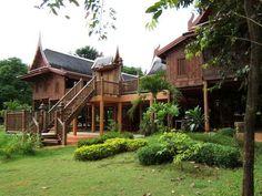 Thai Style Traditional Millionaire Homes, Cafe Restaurant, Restaurant Interiors, Thai House, Wooden House, Architecture Design, Thailand, Exterior, House Design
