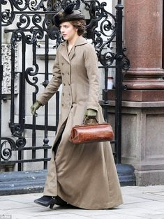 Aisling Loftus was back in her Edwardian costume for filming of the second series of period drama Mr Selfridge