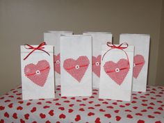Valentine Treat Bags - Red & White Gingham Heart w/ Button and Ribbon - Sweet and Old Fashioned