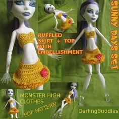 Monster High crochet set: ruffled skirt with flower embellishment + top - pdf pattern