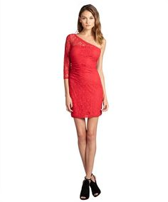 Max & Cleo burnt poppy cotton blend lace 'Amanda' one sleeve #dress