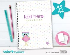 Personalised Notebook (Little Lotty Owl), handmade stationery - lots of designs to choose by aabecreative on Etsy