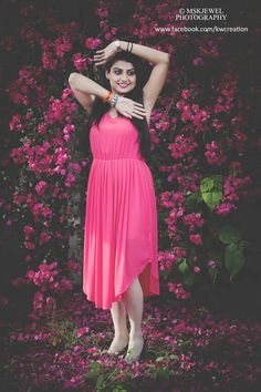 pink, pink frock dress,one piece, girl poses, heels, pink roses, pink flowers, green leafs, fallen flowers, long hairs, beautiful smile, eyes