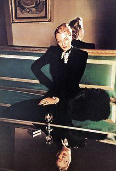 Model is wearing dress by Hattie Carnegie and jewelry by Flato, photo by Louise Dahl-Wolfe, Harper's Bazaar, September 1939 | by skorver1