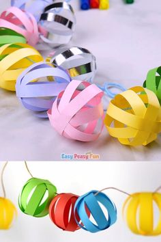 This paper ball garland craft is perfect as a Christmas decoration and it will a. This paper ball garland craft is perfect as a Christmas decoration and it will also look absolutely adorable at any birt. Christmas Decorations For Kids, Christmas Paper Crafts, Holiday Crafts, Christmas Diy, Diy Easter Decorations, Summer Crafts, Kids Birthday Decorations, Christmas Crafts For Kids To Make At School, Diy Paper Crafts