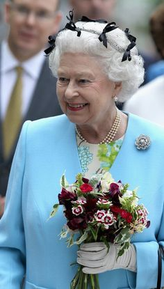 Queen Elizabeth at Chelsea Flower Show in May 2011 (and yes that's a hair net)
