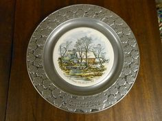 Currier and Ives Pewter Plates Four Seasons   CURRIER & IVES PEWTER Decorating Plate Winter Scene by Carson With ...