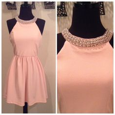 """AVAILABLE SOON! Blush Jewel Neck Dress (NWOT) Blush color fabric with vouch pearl and rhinestone design at the collar. Hidden zipper closure in back. Made of polyester and spandex. Measures about 31"""" inches long. Agaci Dresses"""