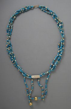 Faience and Gold Necklace. Egypt, Late Period-Ptolemaic Period, 711-30 B.C.