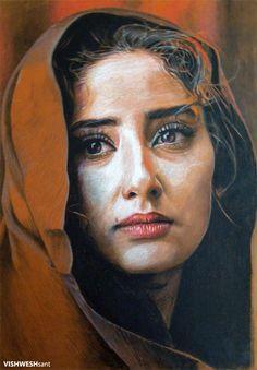 by ~Vishw Portrait Sketches, Pencil Portrait, Painting People, Woman Painting, Abstract Portrait, Portrait Art, Poster Color Painting, Digital Art Girl, Face Art