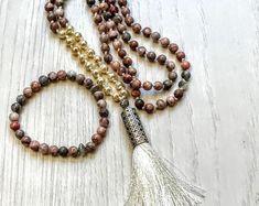 #forher#necklace#handmade#Boho#ethnic#jewlery#gifts#mala#style  colorful necklace, Hand knot necklace, Unique necklace,  Boho beaded necklace, Gift necklace, beaded necklace, pearl tassel necklace.